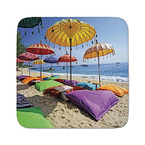Bali Cushion Cover - Cozy Seat Protector Pads Cushion Area Rug,Balinese Decor,Pristine Beach Bathed by the Bali Sandy Seashore Daytime Umbrellas Pillows Leisure,Easy to Use on Any Surface
