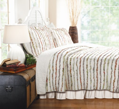 Greenland Home Bella Ruffle Quilt Set, (Stripe King Ruffle)