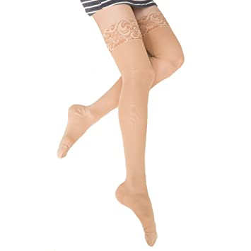 04fa847ce3d3f KoolFree Women Medical True Graduated Compression Stockings, Therapeutic  Firm 23-32mmHg, Lace Top