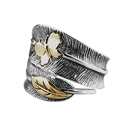 - BALMORA Real 925 Sterling Silver Ring Jewelry Vintage Punk Feather & Butterfly Open Rings for Women Men
