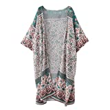 Mose Feitong For Bikini Women Floral Print Chiffon Loose Top Cover up (Size:S, Green)