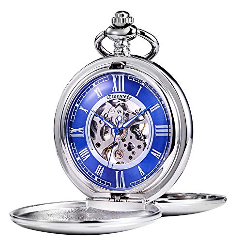 Mechanical Dial Silver (TREEWETO Pocket Watch - Smooth Double Case Series Skeleton Dial Delicate Mechanical Movement with Chain, Silver)