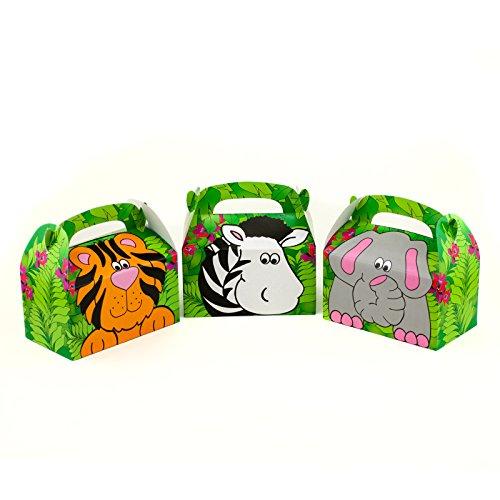 Animal Bag - Adorox Jungle Safari Zoo Animal Cardboard Favor Treat Boxes Children's Birthday Party Goody Bags Lion Tiger Elephant Zebra Hippo Giraffe (Assorted (12 Animal Boxes))