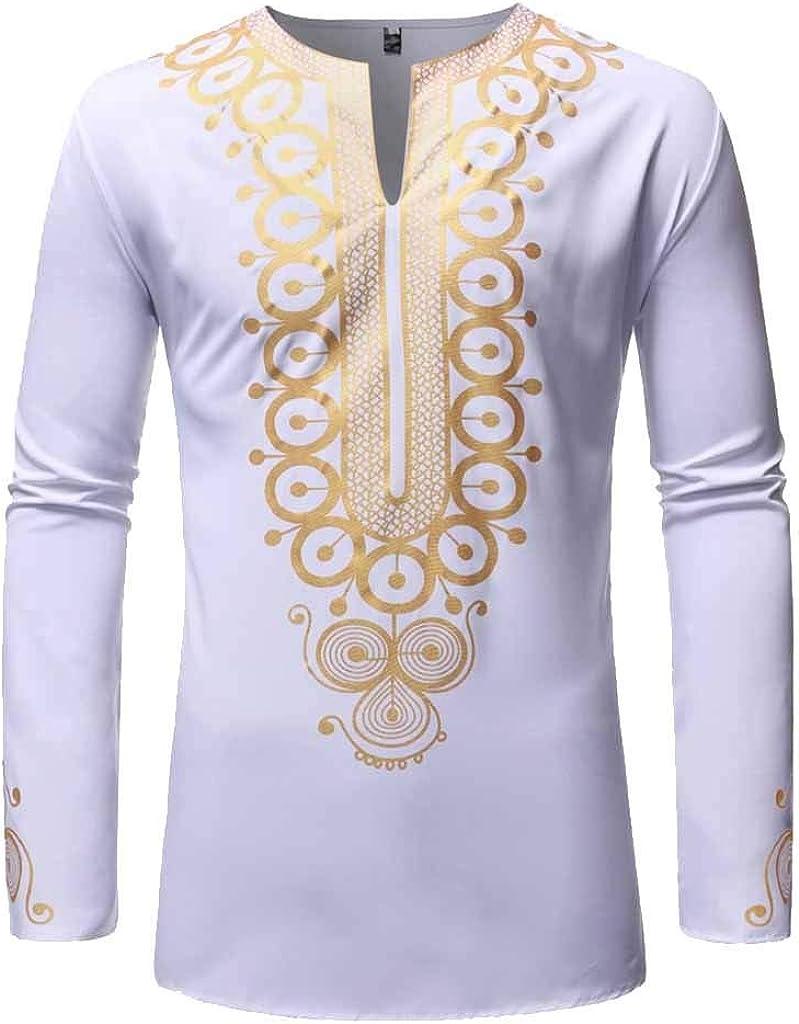 MODOQO Mens African Shirt,Outdoor Fashion Hippie Printed Bright Color Medium Length Shirt
