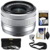 Fujifilm 15-45mm f/3.5-5.6 XC OIS Power Zoom Lens (Silver) with 3 UV/CPL/ND8 Filters + Strap + Kit