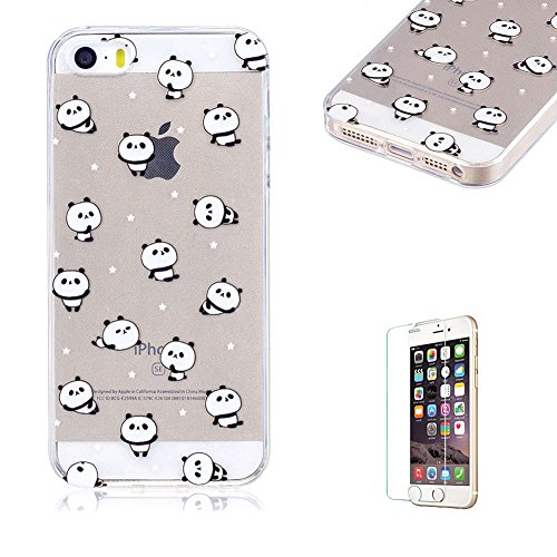 For iPhone 5/5S/SE Case [with Free Screen Protector],Funyye Transparent Flexible Slim Soft Gel TPU Stylish [Lovely Pattern] Anti-Scratch Anti-Shock Creative Design for Girls Protective Phone Case for iPhone 5/5S/SE-Panda