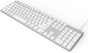 USB Wired Keyboard for Apple Mac, Aluminum Full Size Computer Keyboard with Numeric Keypad Compatible with Magic, iMac, MacBook Pro/Air Laptop and PC-White
