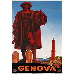 "TV69 Vintage 1940's Genova Genoa Italy Italian Travel Poster Re-Print - A3 (432 x 305mm) 16.5"" x 11.7"""
