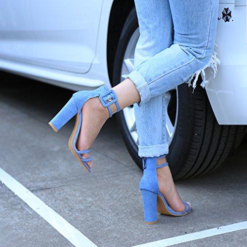 Schnalle Size High Blau Damen 37 Heels Schuhe Asian Fesselriemen Hohen Sandalen Absatz Blockabsatz HENGSONG 23 5cm Fußlänge Riemchensandalen wgIxBq7w
