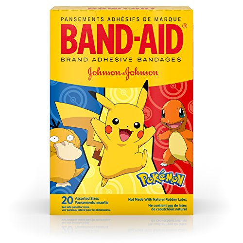 Character Bandages - Band-Aid Brand Kids Adhesive Bandages for Minor Cuts & Scrapes, Pokémon, Assorted Sizes, 20 ct