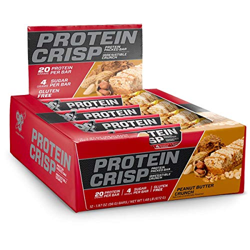 (BSN Protein Crisp Bar by Syntha-6, Low Sugar Whey Protein Bar, 20g of Protein, Peanut Butter Crunch, 12 Count (Packaging may vary))