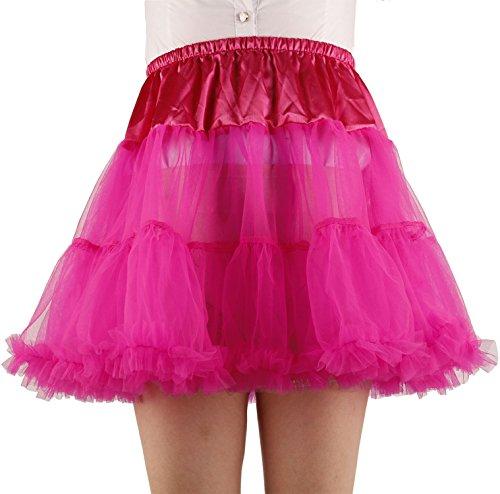 (Shimaly Women's Princess Layered Puff Skirt Mini Tutu Skirt Short Petticoat (L-XL, Rose)