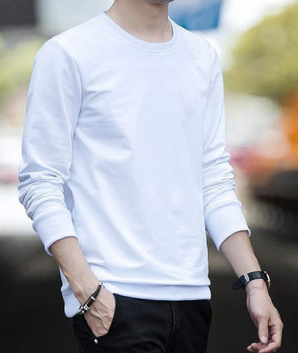 DressU Mens Tops Pure Pullover Long-Sleeve Crewneck Sweatshirts