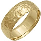 18K Gold Center Stripe Men's Hammered Finish Comfort Fit Wedding Band (8mm)