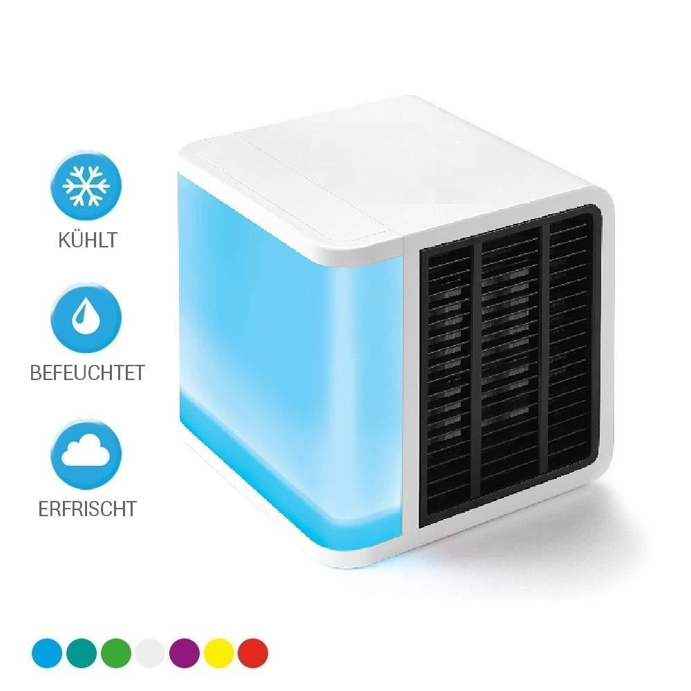 Air Luftk/ühler Arctic Cool Verdunstungsger/ät Lufterfrischer mobiler Luftk/ühler mit USB Anschlu/ß// 3 in 1 Air K/ühler 3 K/ühlstufen 7 Stimmungslichter//Arctic