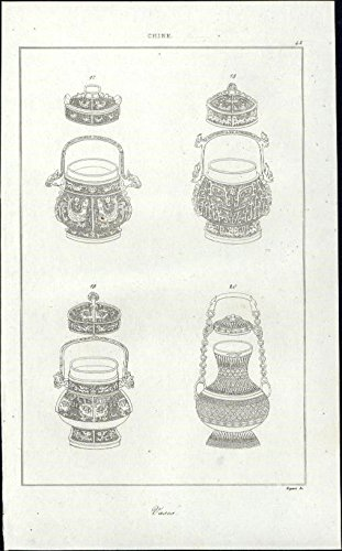 - Tea pots? vessels with lids & handles China 1837 charming antique engraved print