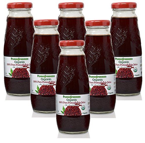 (100% Pomegranate Juice - 6 Pack,6.76Fl Oz - USDA Organic Certified - Glass Bottle - No Sugar Added - No Preservatives - Squeezed From Fresh Pomegranates)