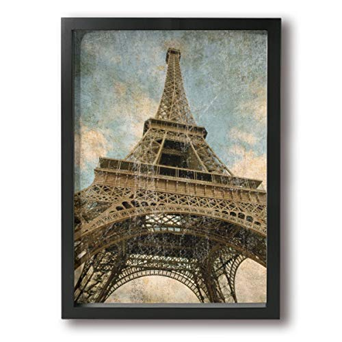 (Rolandrace Vintage Paris Eiffel Tower -Picture Paintings A4 Size Wall Art Contemporary Decorative Giclee Artwork Wall Decor-Wood Frame Ready to Hang)