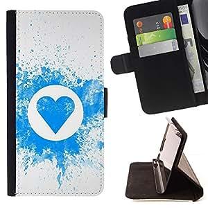 Momo Phone Case / Flip Funda de Cuero Case Cover - Patrón de corazón Splash - Apple Iphone 4 / 4S