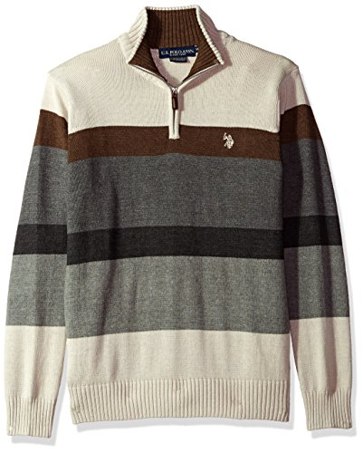 U.S. Polo Assn. Men's Striped 1/4 Zip Sweater, Shell Heather, Small ()