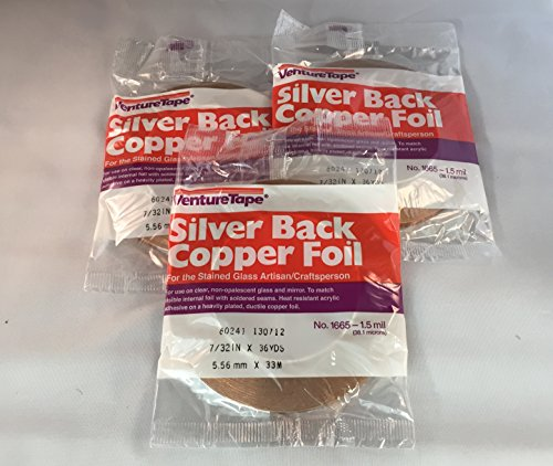 7/32″ Silver Back Copper Foil – 3 rolls by Sun and Moon Stained Glass