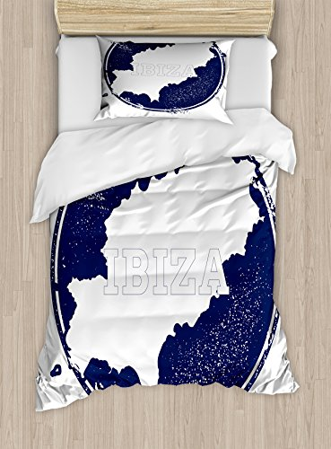 Lunarable Ibiza Twin Size Duvet Cover Set, Grunge Style Island Name and Map Southern Spain Vacation Destination Exotic, Decorative 2 Piece Bedding Set with 1 Pillow Sham, Dark Blue and White by Lunarable