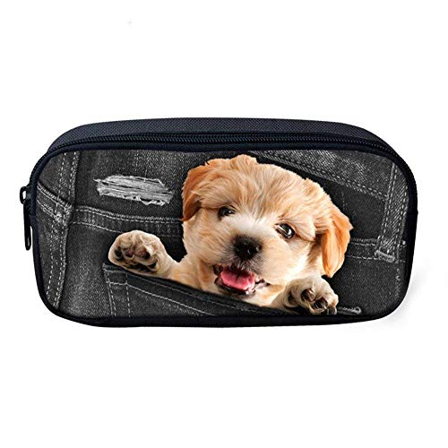 - Novelty Dog Pencil Case, Big Capacity Pen Case Desk Organizer with Zipper for School & Office Supplies - 8.7x4.7x1.8 inches