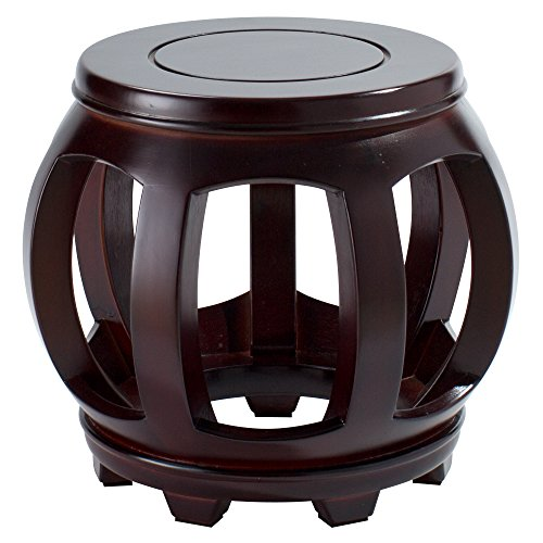 (Decorative Hardwood Birch Footstool Water Resistant Multipurpose Durable Sturdy Non-Slip Surface & Feet Wooden Round Step Stool for Living Room Bedroom Patio - Light & Dark Available (Dark Wood))