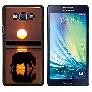 Oso Grizzly Sunset Ocean Summer Sun- Metal de aluminio y de plástico duro Caja del teléfono - Negro - Samsung Galaxy A7 / SM-A700