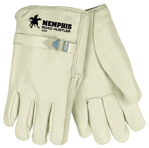MCR Safety 3220XL Road Hustler Premium Grade Unlined Cow Grain Leather Driver Gloves with Pull Strap, Cream, X-Large, 1-Pair by MCR (Hustler Leather)