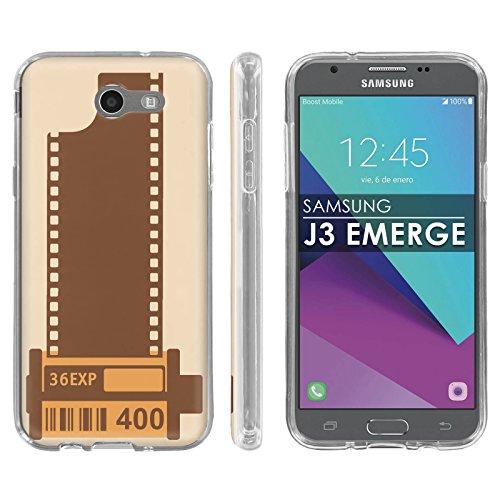Samsung Galaxy Emerge [2017] J327 J317 Mission Eclipse | Luna Pro Silicone Rubber Gel Phone Cover [Case86] [Clear] Gel Gummy Phone Case - [Film Roll] for Galaxy SGH-I317 [5
