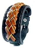 D'SHARK 1.5'' Wide Luxury Braided Leather Biker Bangle Cuff Bracelet Wristband for Unisex - (Brown)