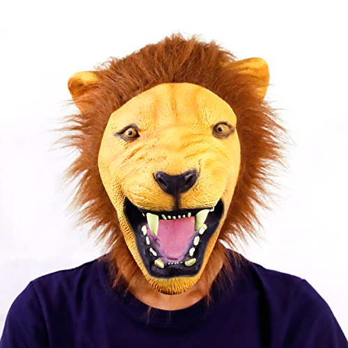 Waylike Lion Mask Latex Head Mask Rubber Animal Mask Novelty Costume Masks