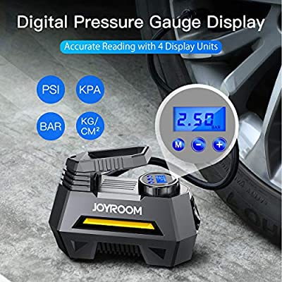 joyroom Portable Air Compressor Tire Inflator CZK-3631, Car Tire Pump with Digital Pressure Gauge (150 PSI 12V DC), Bright Emergency Flashlight - for Auto, Trucks, Bicycles, Balls: Automotive