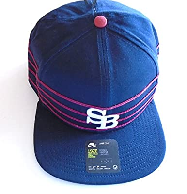 NIKE SB Skateboarding Icon Pro Stripes Snapback Hat Ramp Up Cap (Navy Blue/Red/White Logo)