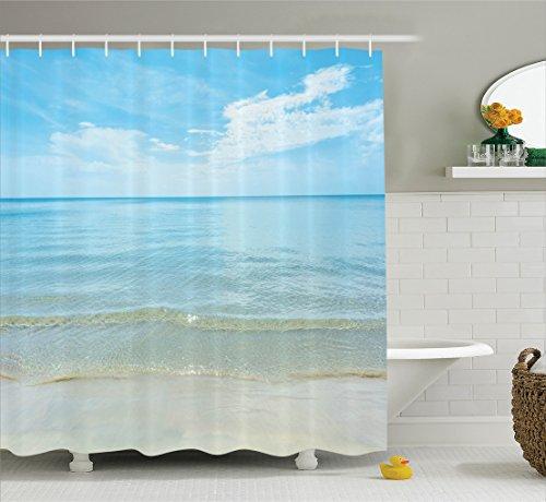 Ocean Decor Shower Curtain Set By Ambesonne  Bright Sunny Summer Day At The Sandy Beach Tranquil Calm Shore Sea Horizon Image Artprint  Bathroom Accessories  75 Inches Long  Blue Cream