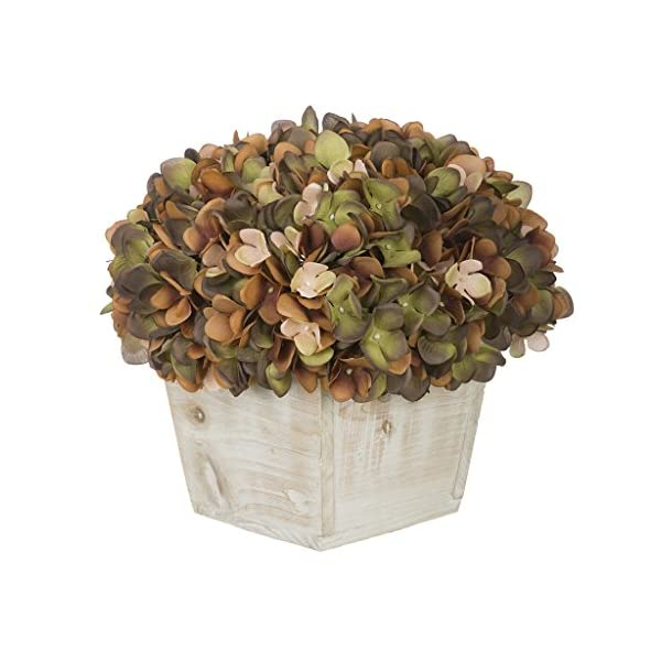 House of Silk Flowers Artificial Hydrangea in White-Washed Wood Cube Color: Coffee/Sage