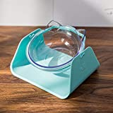 GFEU Pet Dog Cat Food Bowls with Stand Tilting Swing Round Pet Feeding Bowl Dish Tray (Blue)