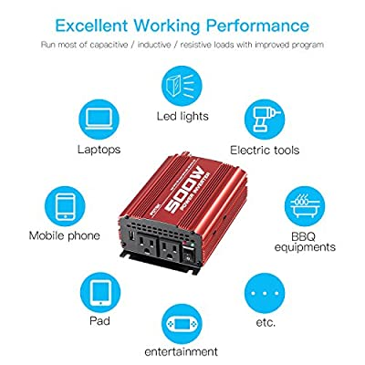 POTEK 500W Car Power Inverter DC 12V to AC 110V with 2AC outlets and 2A USB Port: Car Electronics