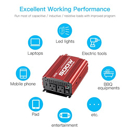 POTEK 500W Car Power Inverter DC 12V to AC 110V with 2 AC outlets and 2A USB Port by POTEK (Image #4)
