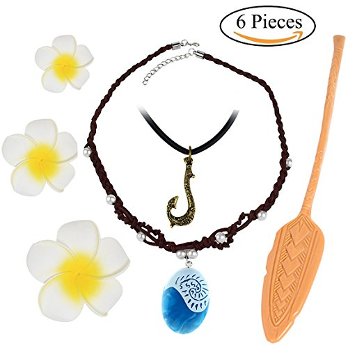 Princess Gilrs Moana Cosplay Necklace 6 Pcs Dress up Set Flower Hair Clips Movie Accessories Gift for Kids