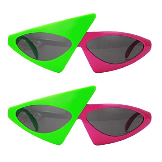2ce5c22dd74 Image Unavailable. Image not available for. Color  Fenteer 2 Pieces Novelty  Glasses Red Green Triangle Cocktail Sunglasses