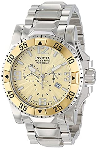 Invicta Men's 10895 Excursion Reserve Chronograph Gold Tone Textured Dial Stainless Steel Watch (Invicta Reserve Excursion Gold)