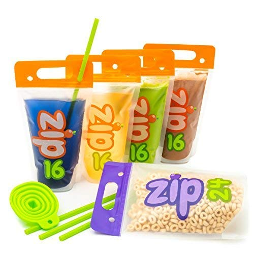 Drink Pouches and Green Smoothie Bags in 2 Sizes by Zip16 | Freezable BPA Free Plastic with Double Zipper | 50pc Set Incl 16oz and Exclusive 24oz Size with 50 Jumbo Wide Straws Perfect for Smoothies