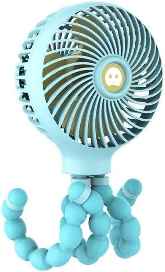 SUNDELLAO Enredar Cochecito de bebé del Ventilador para el bebé con Ventilador Estudiante función de Interruptor Anti-Touch 3 Velocidad de la batería Recargable del USB, Azul Cielo