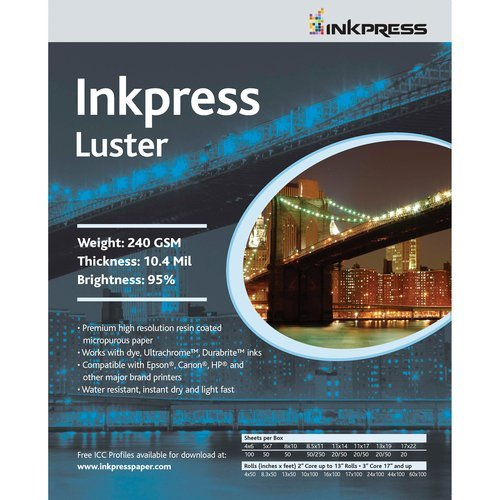 Premium Single Sided Photo Paper (Inkpress Luster, Single Sided Inkjet Paper, 240gsm, 10.4 mil., 8.5x11