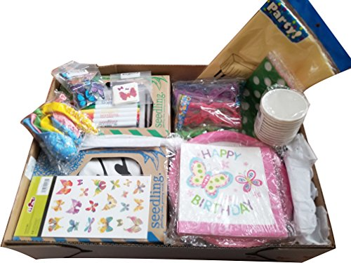 Birthday Party in a Box-butterfly themed-all you need to create magical moments! Service for 8-includes Design Your Own Butterfly Wings by Seedling-tableware-loot bags-prizes-food décor & balloons. by Creative Enterprises