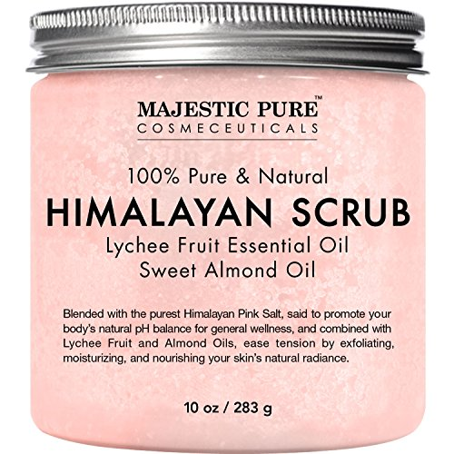 Majestic Pure Himalayan Salt Body Scrub with Lychee Essential Oil, All Natural Scrub to Exfoliate & Moisturize Skin, 10 oz -