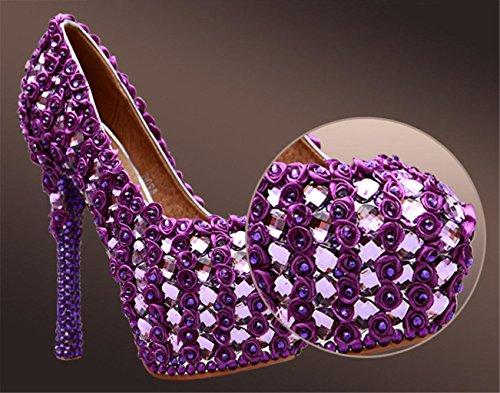 Novia Rhinestonesgorgeous Tribunal SeñOras Kitzen De De Purple Damas La Boda Rhinestones Zapatos De Alto Stiletto De DiseñAdor Mujeres Party PúRpura Alta TacóN Gama Plataforma qX88vdw
