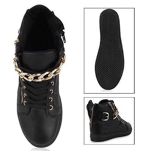 Stiefelparadies Damen Sneaker High Schuhe Leder-Optik Sneakers Zipper Ketten Schnürschuhe Flats Schnallen Flandell Schwarz Gold
